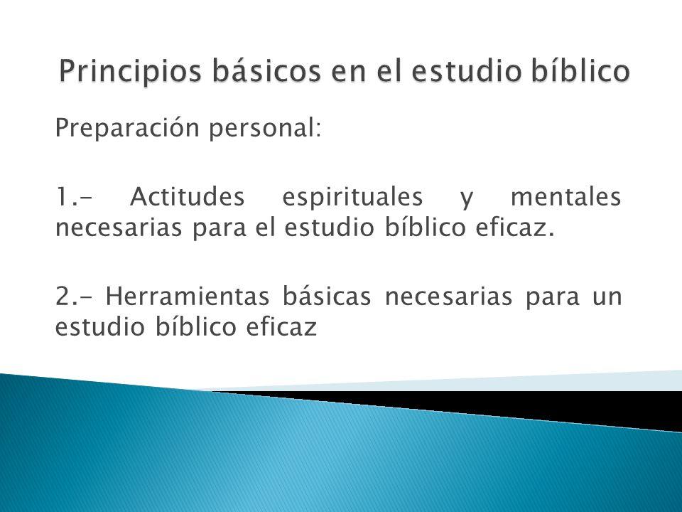 Principios básicos en el estudio bíblico