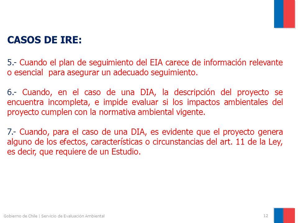 CASOS DE IRE: 5.- Cuando el plan de seguimiento del EIA carece de información relevante o esencial para asegurar un adecuado seguimiento.