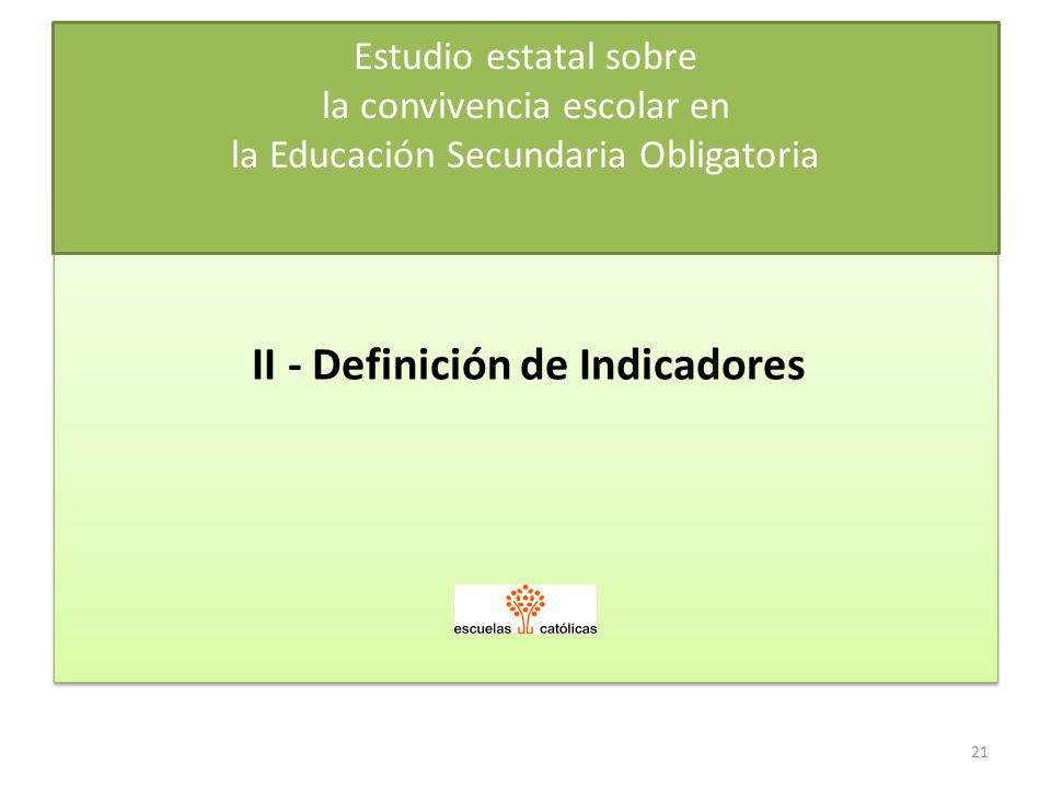 II - Definición de Indicadores
