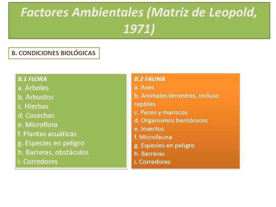 Factores Ambientales (Matriz de Leopold, 1971)