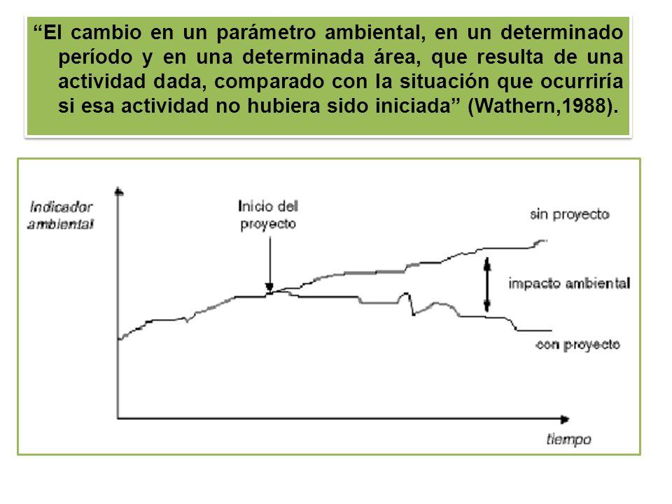 El cambio en un parámetro ambiental, en un determinado período y en una determinada área, que resulta de una actividad dada, comparado con la situación que ocurriría si esa actividad no hubiera sido iniciada (Wathern,1988).