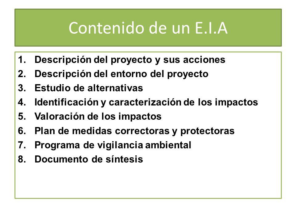 Contenido de un E.I.A Descripción del proyecto y sus acciones
