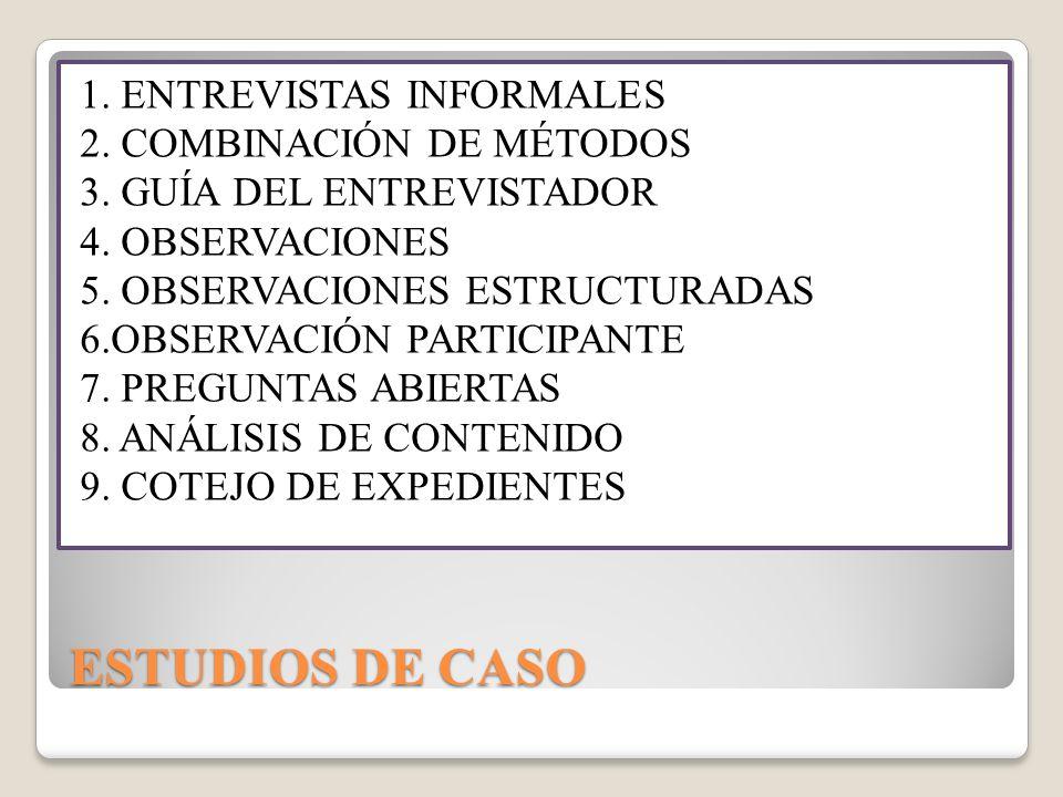 ESTUDIOS DE CASO 1. ENTREVISTAS INFORMALES 2. COMBINACIÓN DE MÉTODOS
