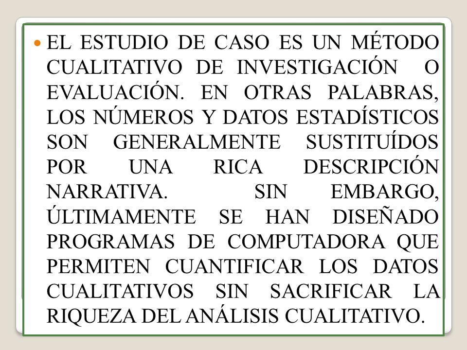 EL ESTUDIO DE CASO ES UN MÉTODO CUALITATIVO DE INVESTIGACIÓN O EVALUACIÓN.