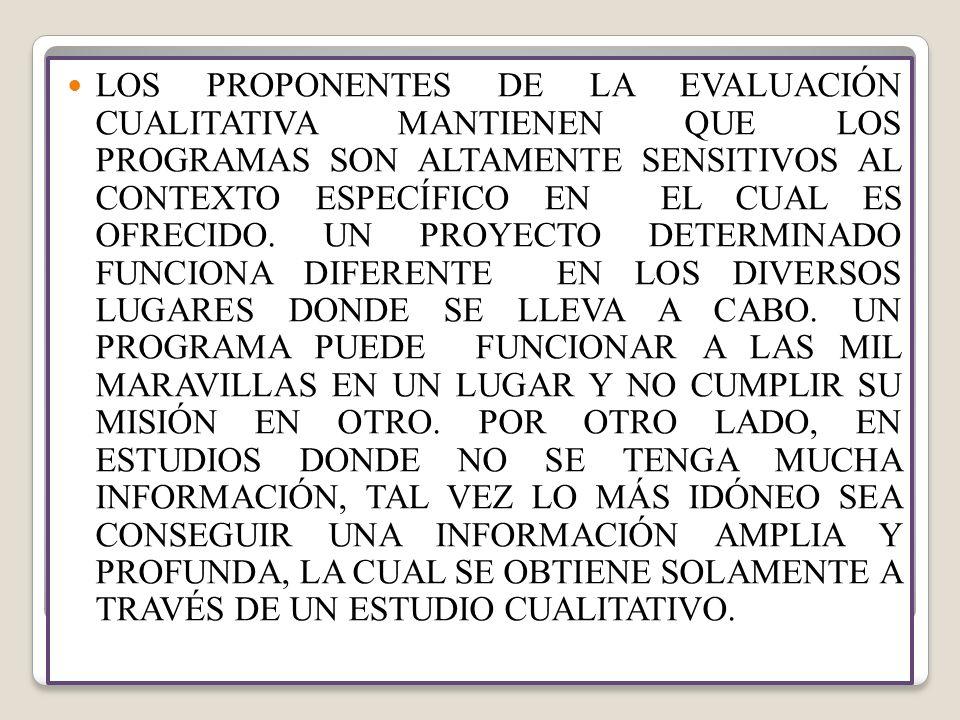 LOS PROPONENTES DE LA EVALUACIÓN CUALITATIVA MANTIENEN QUE LOS PROGRAMAS SON ALTAMENTE SENSITIVOS AL CONTEXTO ESPECÍFICO EN EL CUAL ES OFRECIDO.