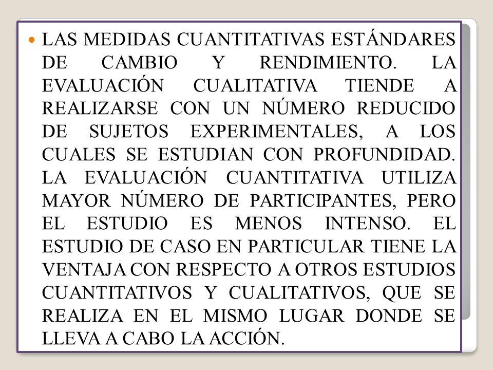 LAS MEDIDAS CUANTITATIVAS ESTÁNDARES DE CAMBIO Y RENDIMIENTO