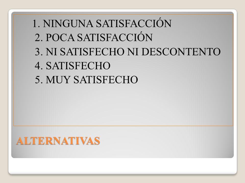 1. NINGUNA SATISFACCIÓN 2. POCA SATISFACCIÓN. 3. NI SATISFECHO NI DESCONTENTO. 4. SATISFECHO. 5. MUY SATISFECHO.