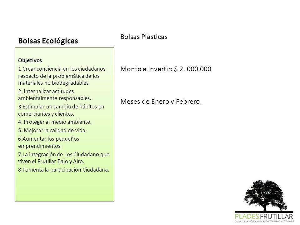 Bolsas Ecológicas Bolsas Plásticas Monto a Invertir: $ 2. 000.000 Meses de Enero y Febrero. Objetivos.