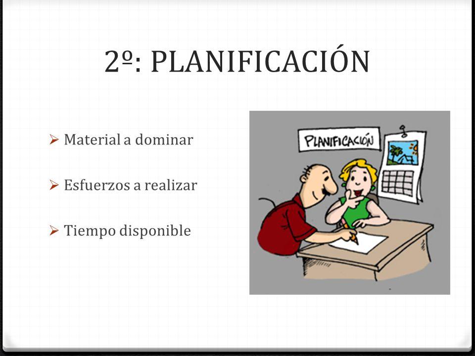 2º: PLANIFICACIÓN Material a dominar Esfuerzos a realizar