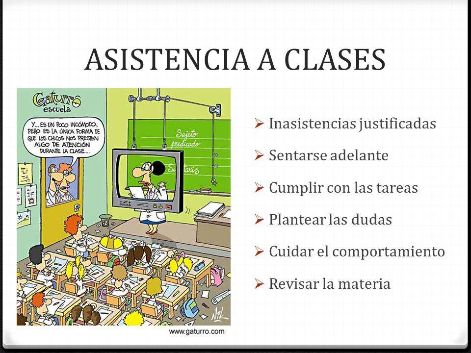 ASISTENCIA A CLASES Inasistencias justificadas Sentarse adelante