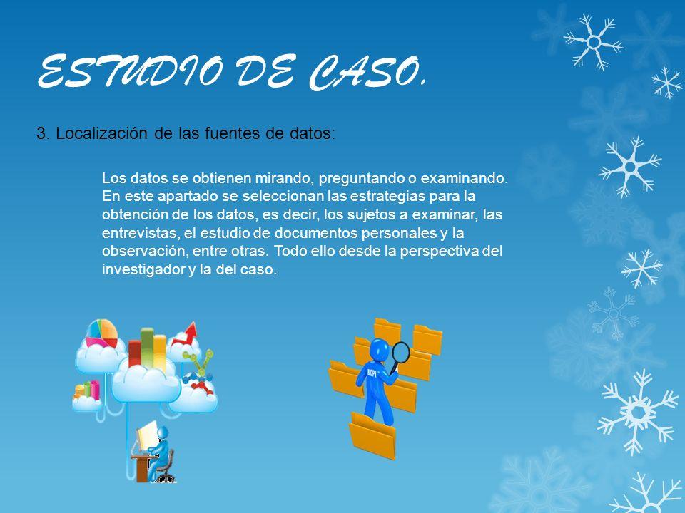 ESTUDIO DE CASO. 3. Localización de las fuentes de datos: