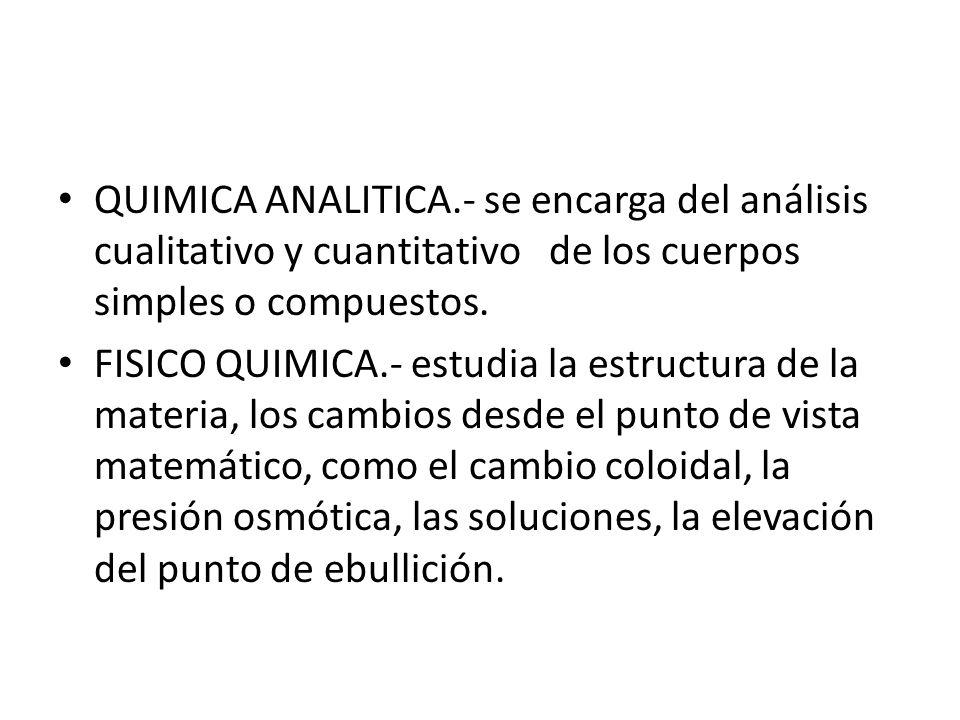 QUIMICA ANALITICA.- se encarga del análisis cualitativo y cuantitativo de los cuerpos simples o compuestos.