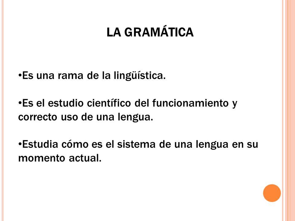 LA GRAMÁTICA Es una rama de la lingüística.