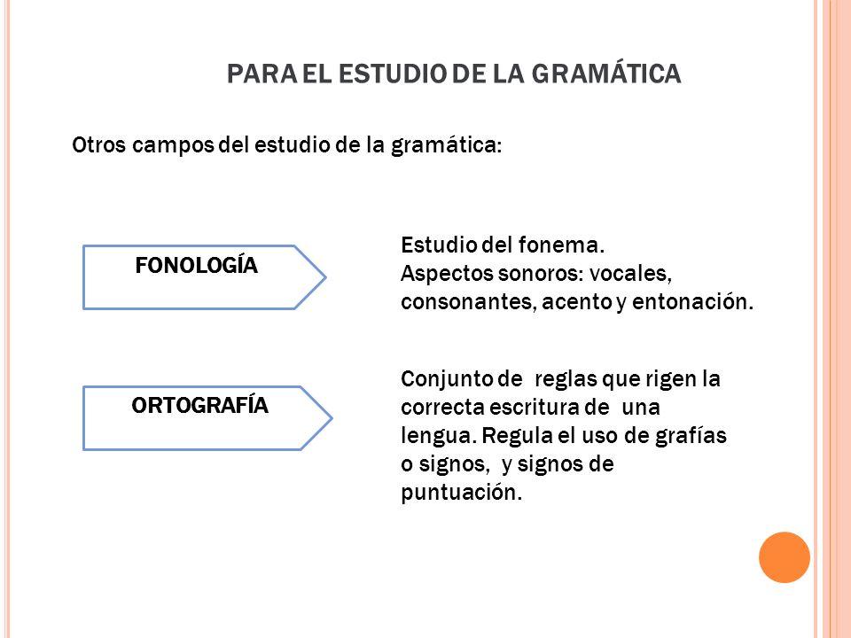 PARA EL ESTUDIO DE LA GRAMÁTICA
