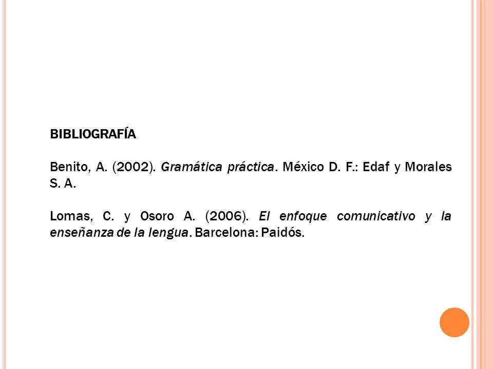 BIBLIOGRAFÍA Benito, A. (2002). Gramática práctica. México D. F.: Edaf y Morales S. A.