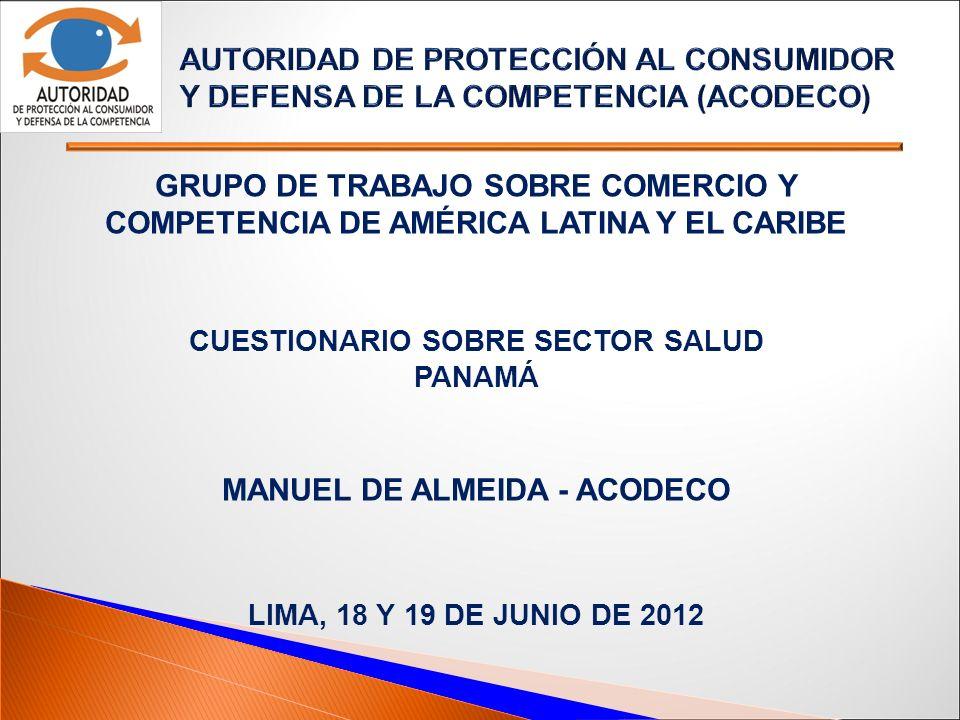 Cuestionario sobre Sector Salud Manuel de almeida - acodeco