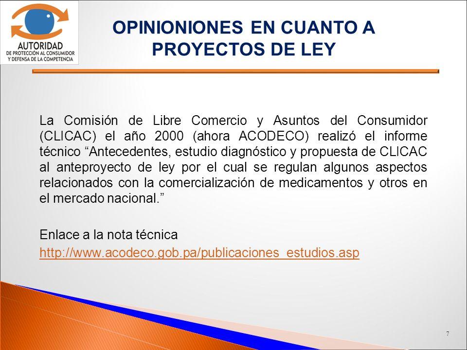 OPINIONIONES EN CUANTO A PROYECTOS DE LEY