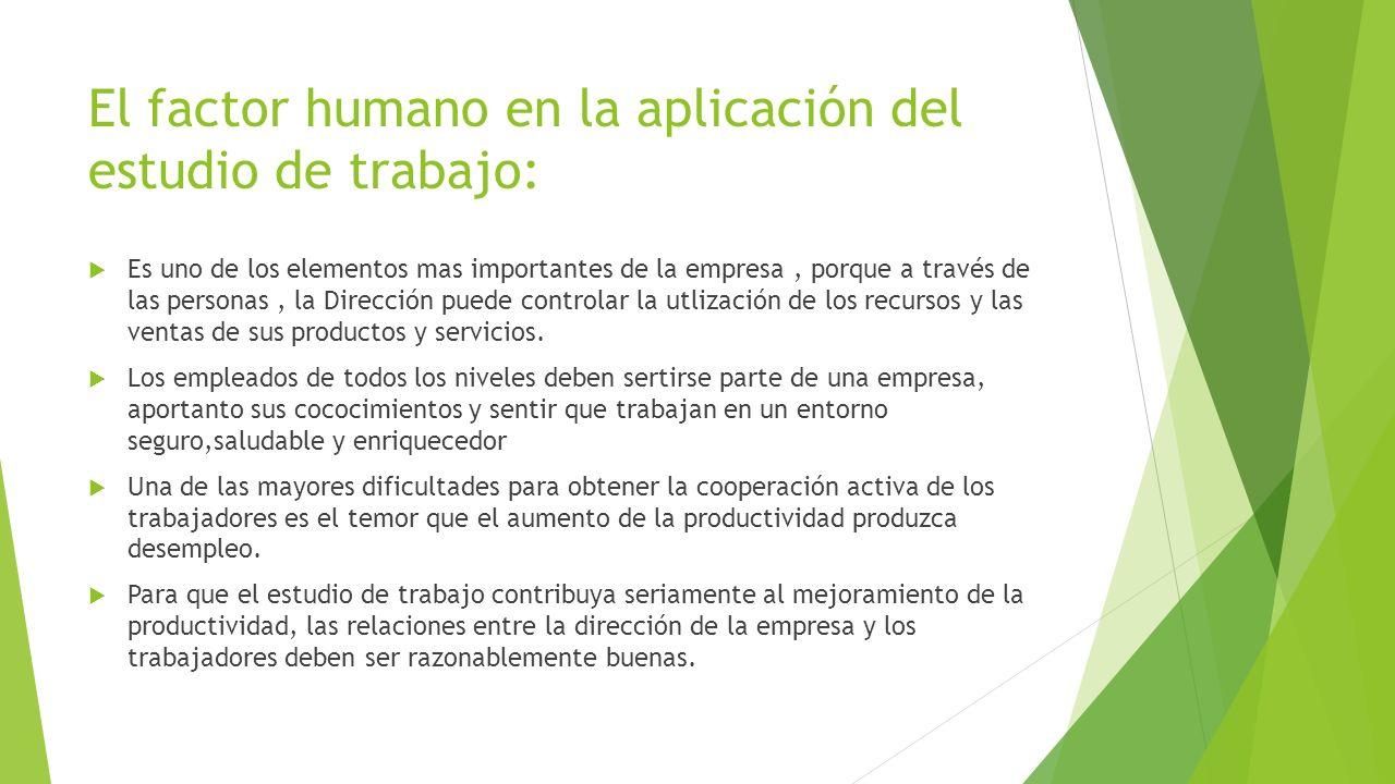 El factor humano en la aplicación del estudio de trabajo: