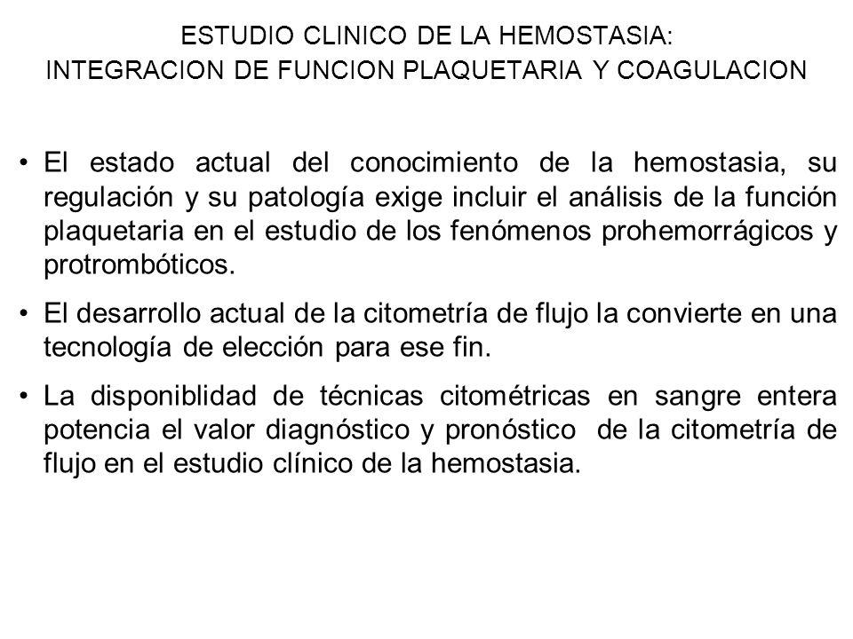 ESTUDIO CLINICO DE LA HEMOSTASIA: INTEGRACION DE FUNCION PLAQUETARIA Y COAGULACION