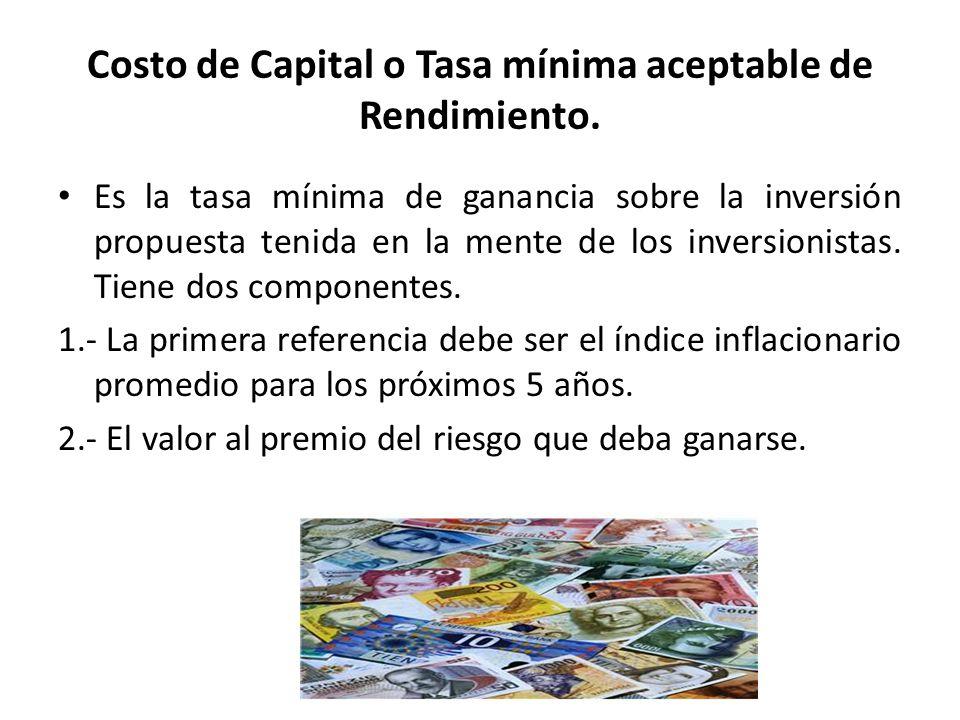 Costo de Capital o Tasa mínima aceptable de Rendimiento.