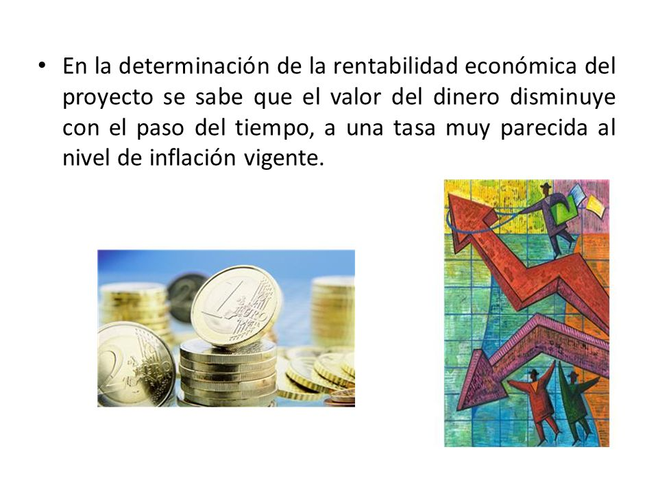 En la determinación de la rentabilidad económica del proyecto se sabe que el valor del dinero disminuye con el paso del tiempo, a una tasa muy parecida al nivel de inflación vigente.