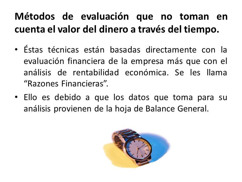 Métodos de evaluación que no toman en cuenta el valor del dinero a través del tiempo.
