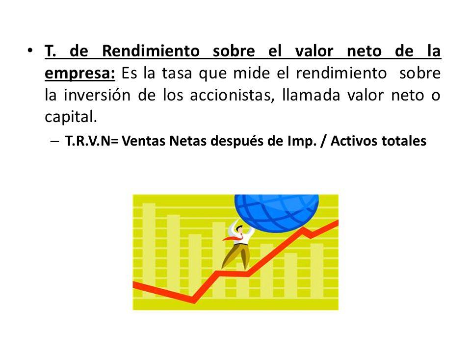 T. de Rendimiento sobre el valor neto de la empresa: Es la tasa que mide el rendimiento sobre la inversión de los accionistas, llamada valor neto o capital.