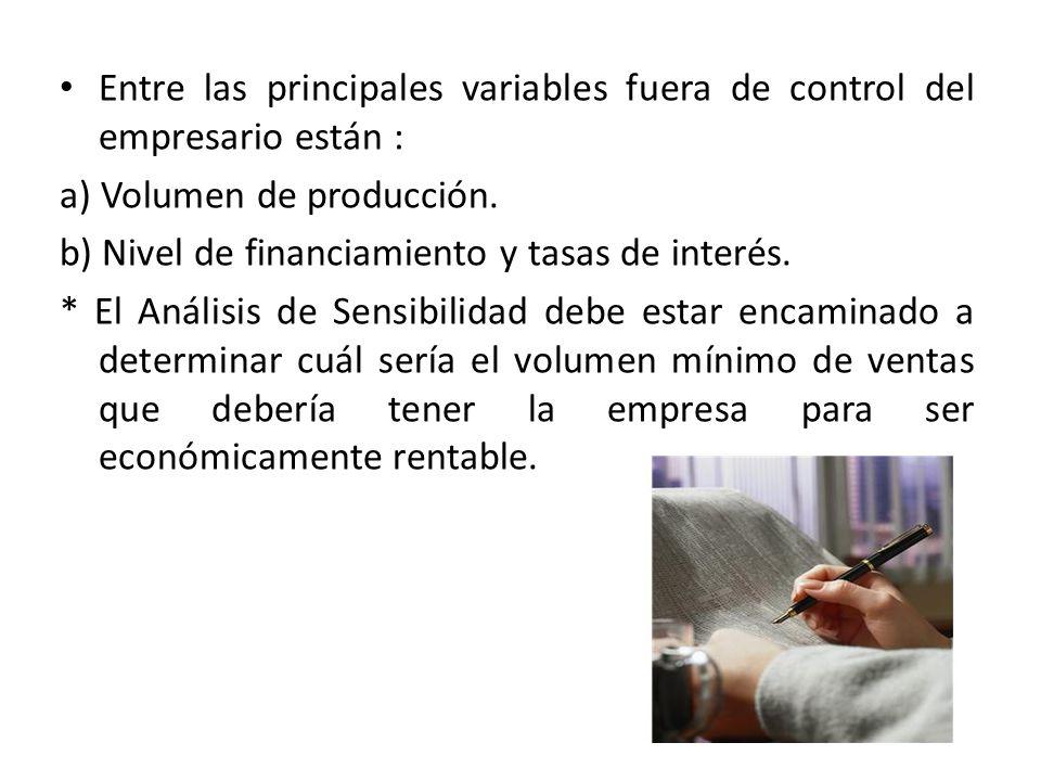 Entre las principales variables fuera de control del empresario están :