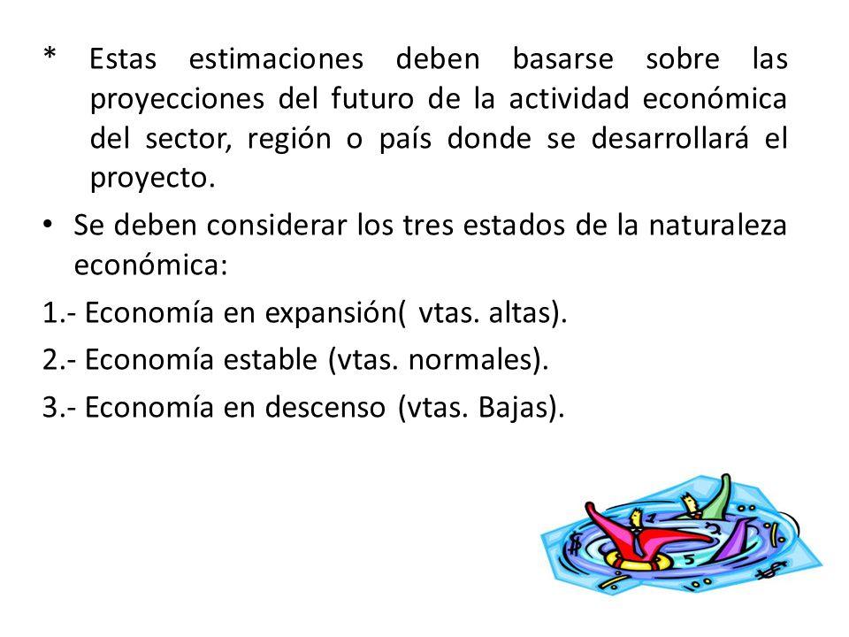 * Estas estimaciones deben basarse sobre las proyecciones del futuro de la actividad económica del sector, región o país donde se desarrollará el proyecto.