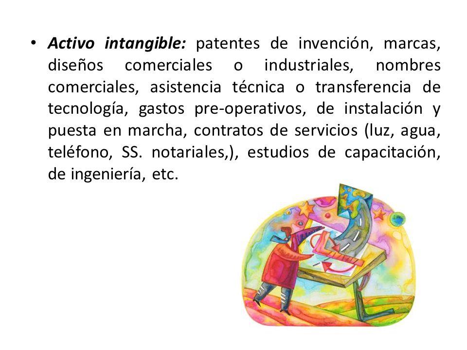 Activo intangible: patentes de invención, marcas, diseños comerciales o industriales, nombres comerciales, asistencia técnica o transferencia de tecnología, gastos pre-operativos, de instalación y puesta en marcha, contratos de servicios (luz, agua, teléfono, SS.