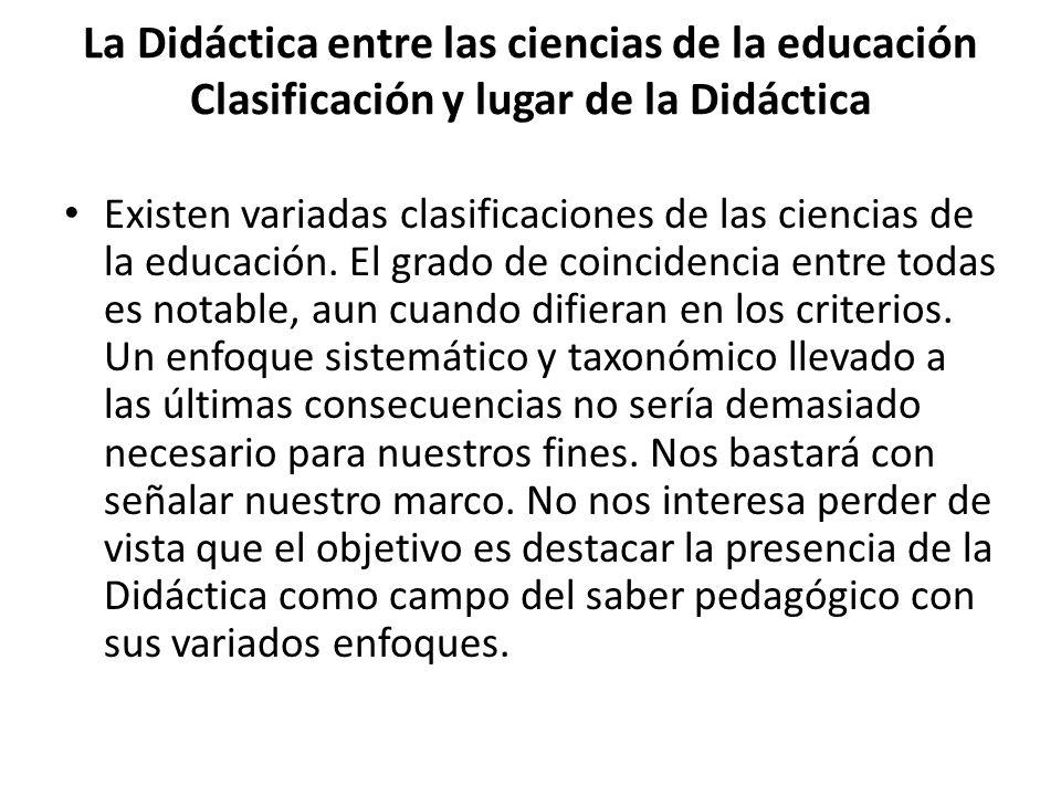 La Didáctica entre las ciencias de la educación Clasificación y lugar de la Didáctica