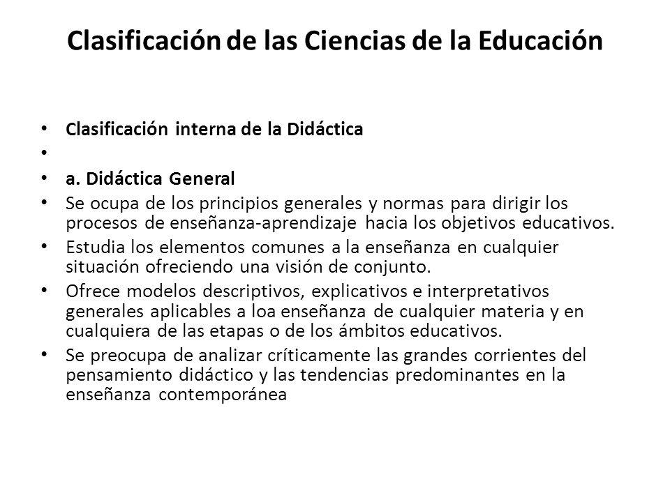 Clasificación de las Ciencias de la Educación