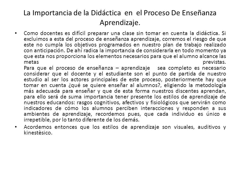 La Importancia de la Didáctica en el Proceso De Enseñanza Aprendizaje.