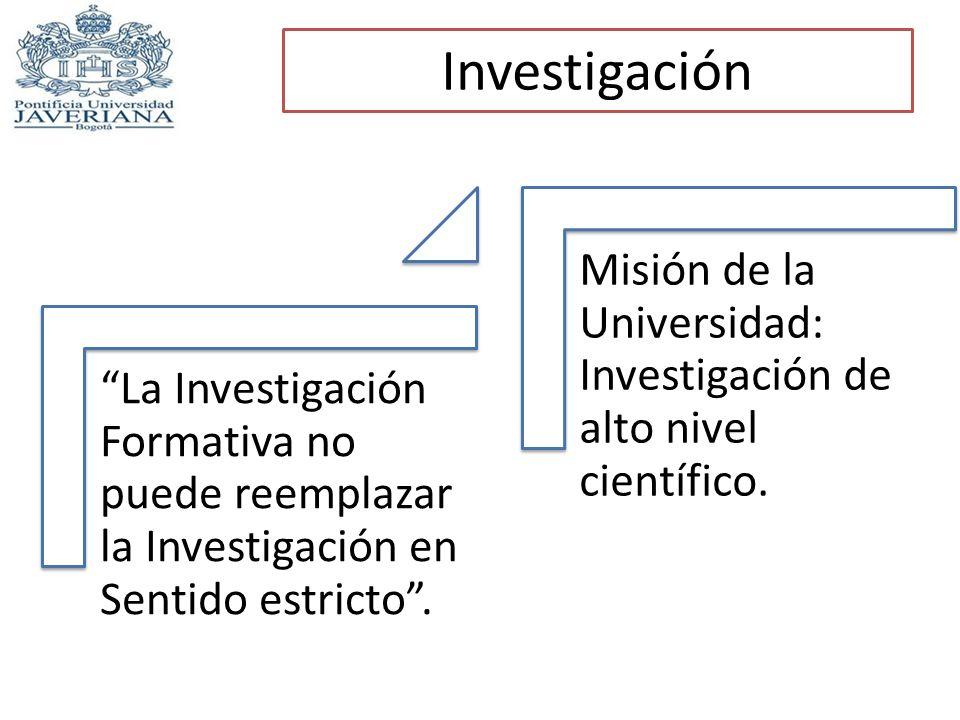 Investigación La Investigación Formativa no puede reemplazar la Investigación en Sentido estricto .