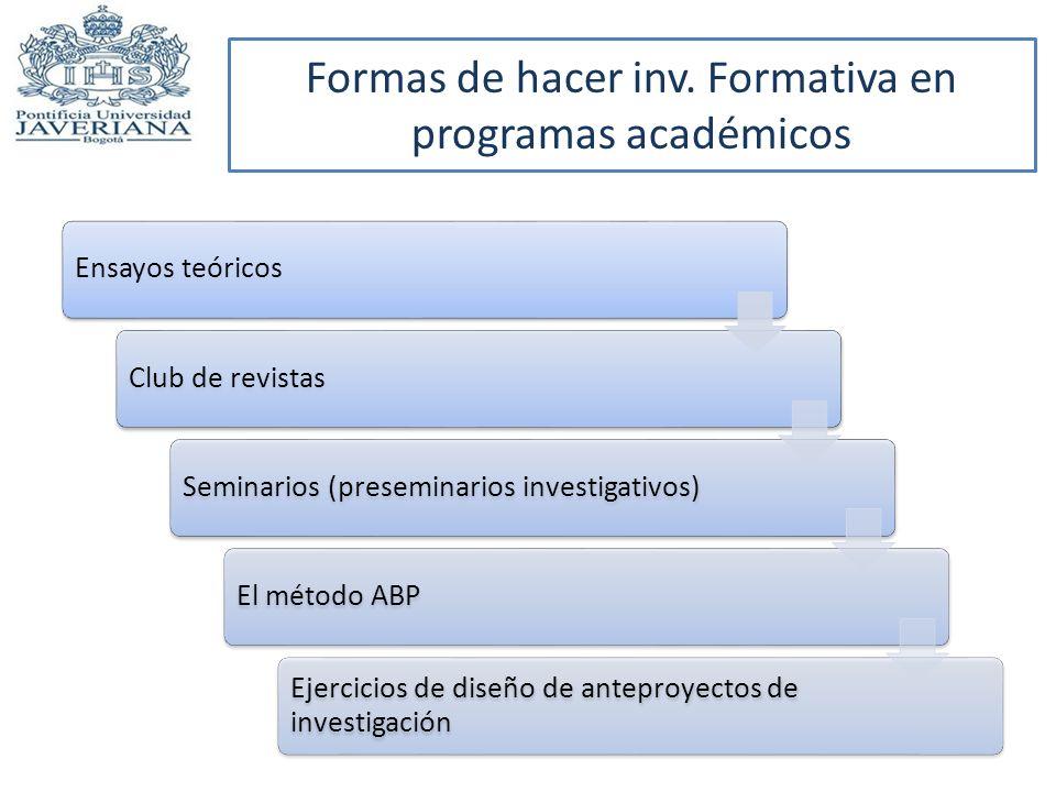 Formas de hacer inv. Formativa en programas académicos