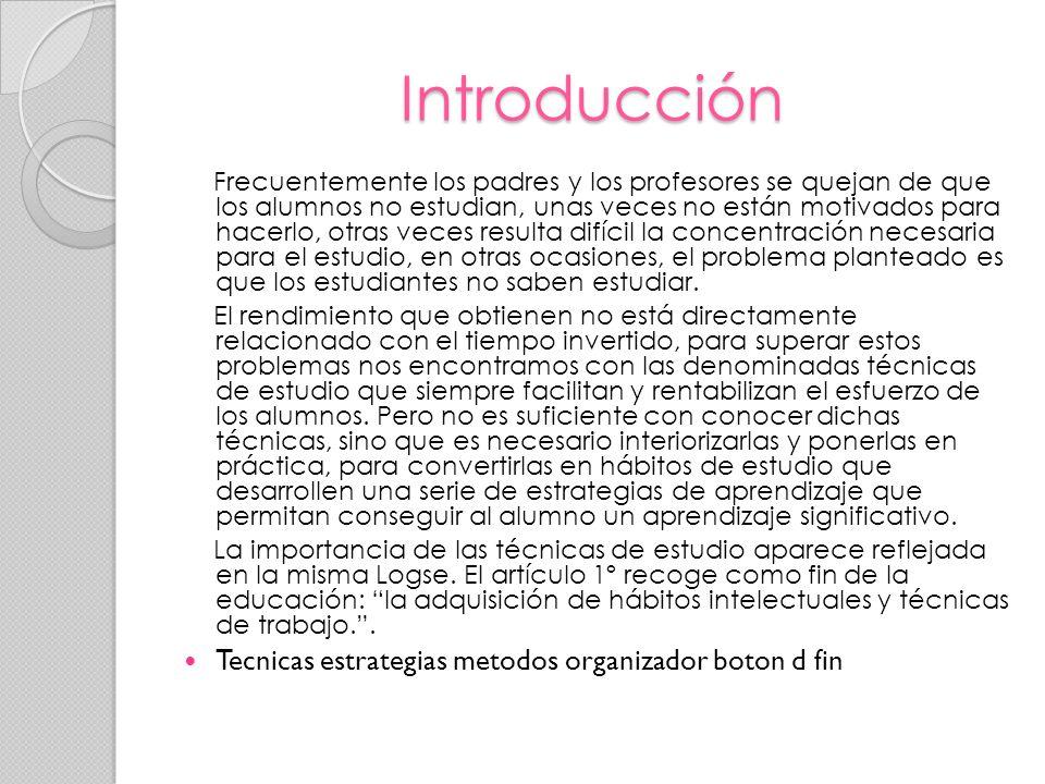 Introducción Tecnicas estrategias metodos organizador boton d fin