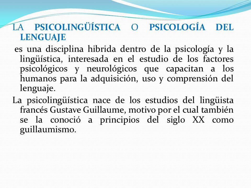 LA PSICOLINGÜÍSTICA O PSICOLOGÍA DEL LENGUAJE