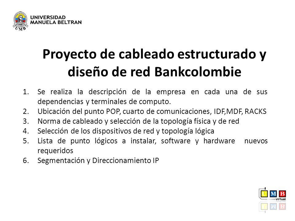 Proyecto de cableado estructurado y diseño de red Bankcolombie