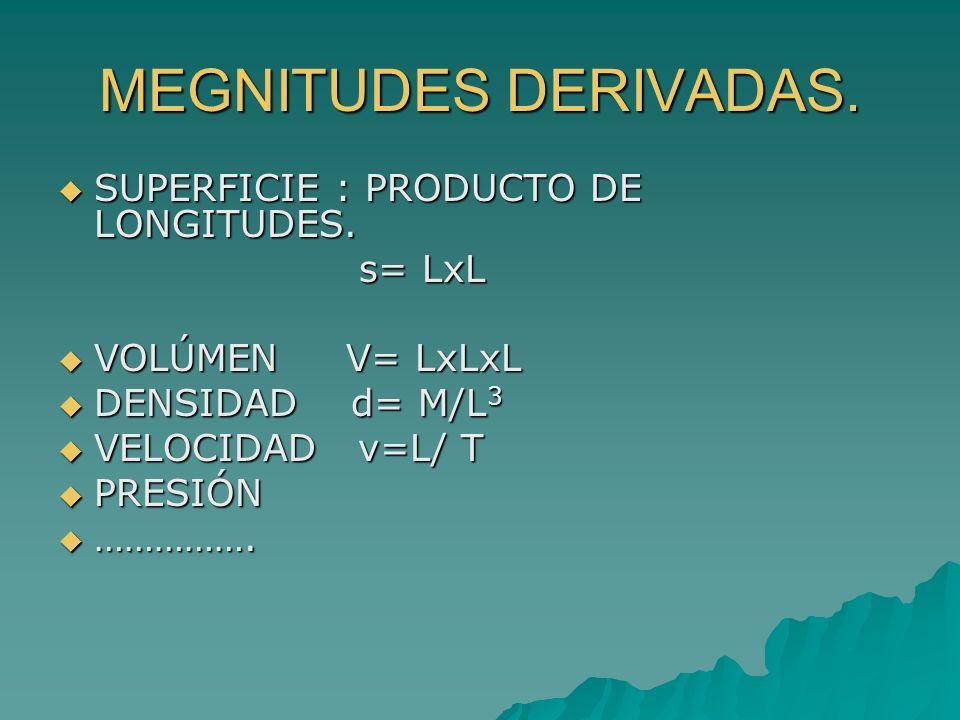 MEGNITUDES DERIVADAS. SUPERFICIE : PRODUCTO DE LONGITUDES. s= LxL