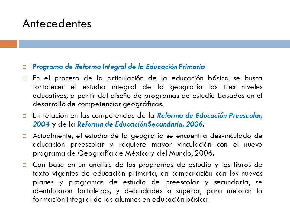 Antecedentes Programa de Reforma Integral de la Educación Primaria