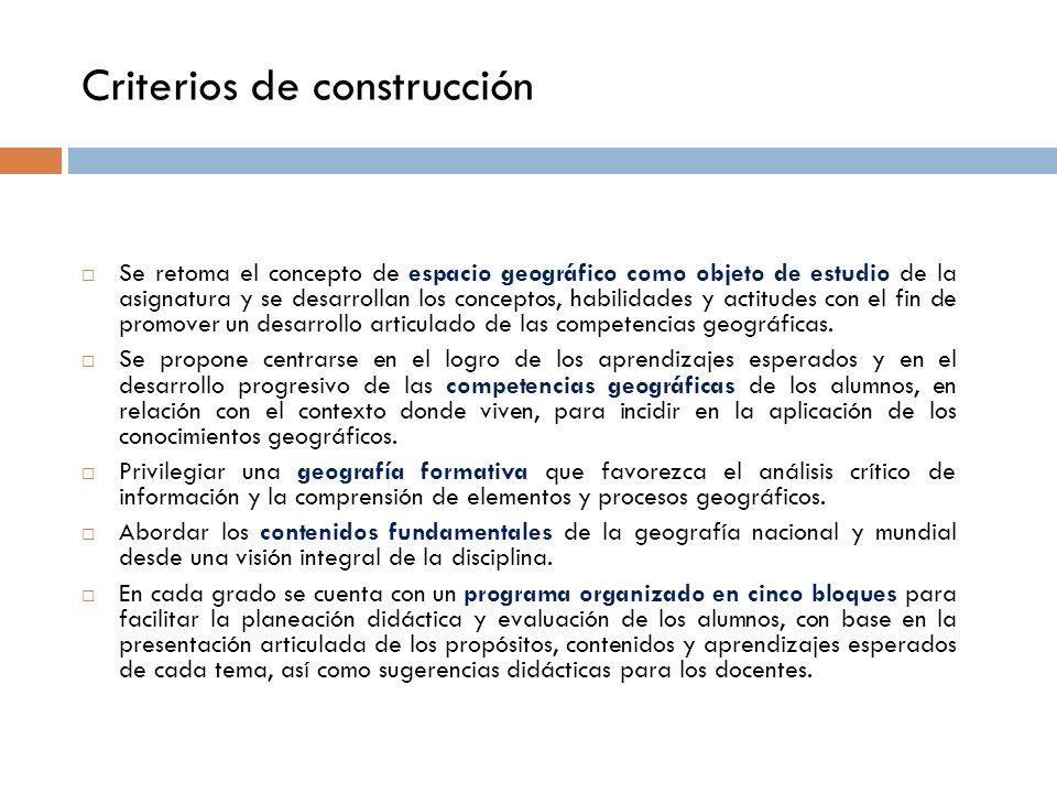 Criterios de construcción