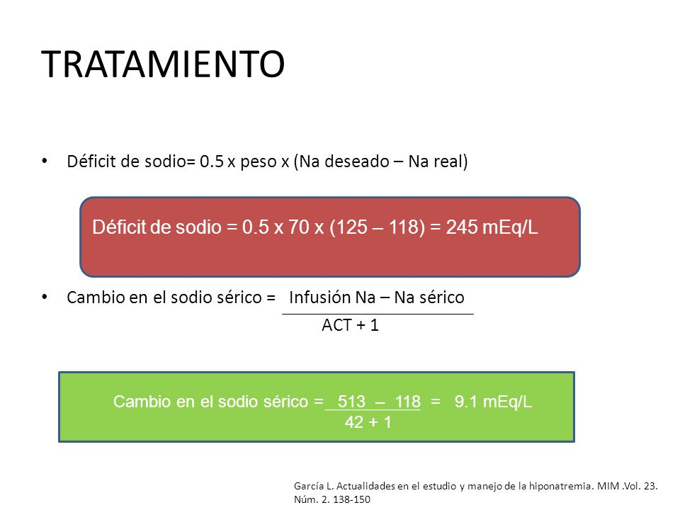 TRATAMIENTO Déficit de sodio= 0.5 x peso x (Na deseado – Na real)