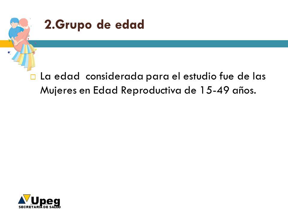 2.Grupo de edad La edad considerada para el estudio fue de las Mujeres en Edad Reproductiva de 15-49 años.