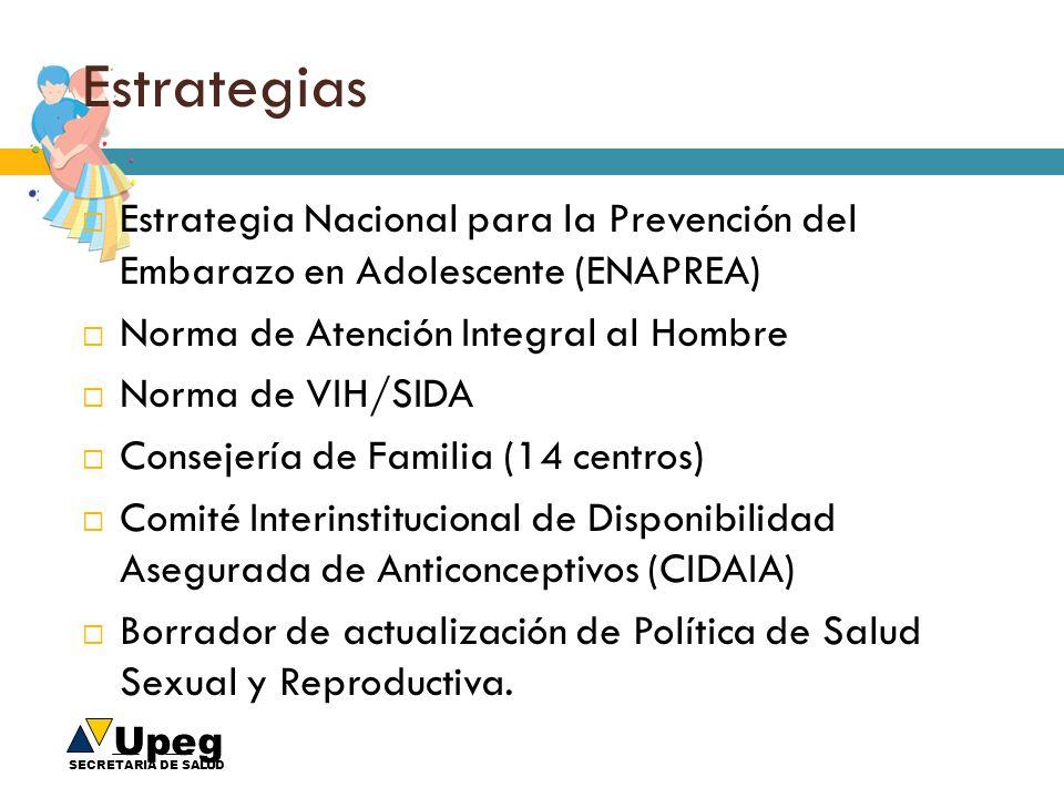 Estrategias Estrategia Nacional para la Prevención del Embarazo en Adolescente (ENAPREA) Norma de Atención Integral al Hombre.