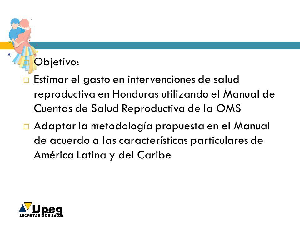 Objetivo: Estimar el gasto en intervenciones de salud reproductiva en Honduras utilizando el Manual de Cuentas de Salud Reproductiva de la OMS.