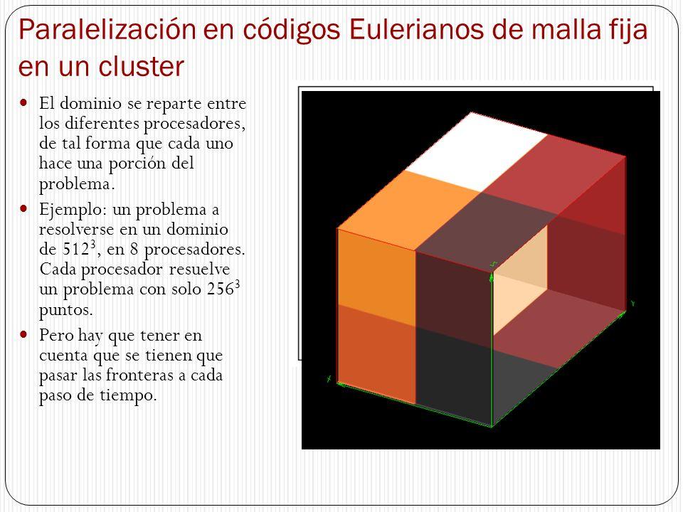 Paralelización en códigos Eulerianos de malla fija en un cluster