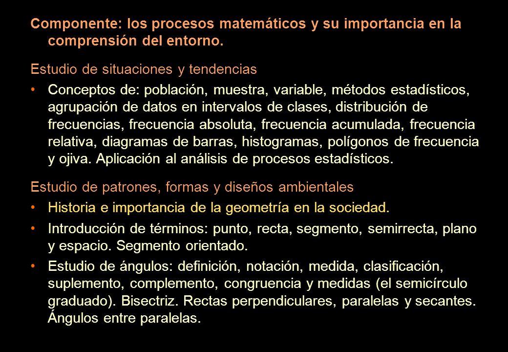 Componente: los procesos matemáticos y su importancia en la comprensión del entorno.