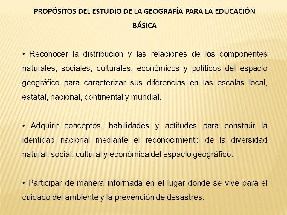 PROPÓSITOS DEL ESTUDIO DE LA GEOGRAFÍA PARA LA EDUCACIÓN BÁSICA