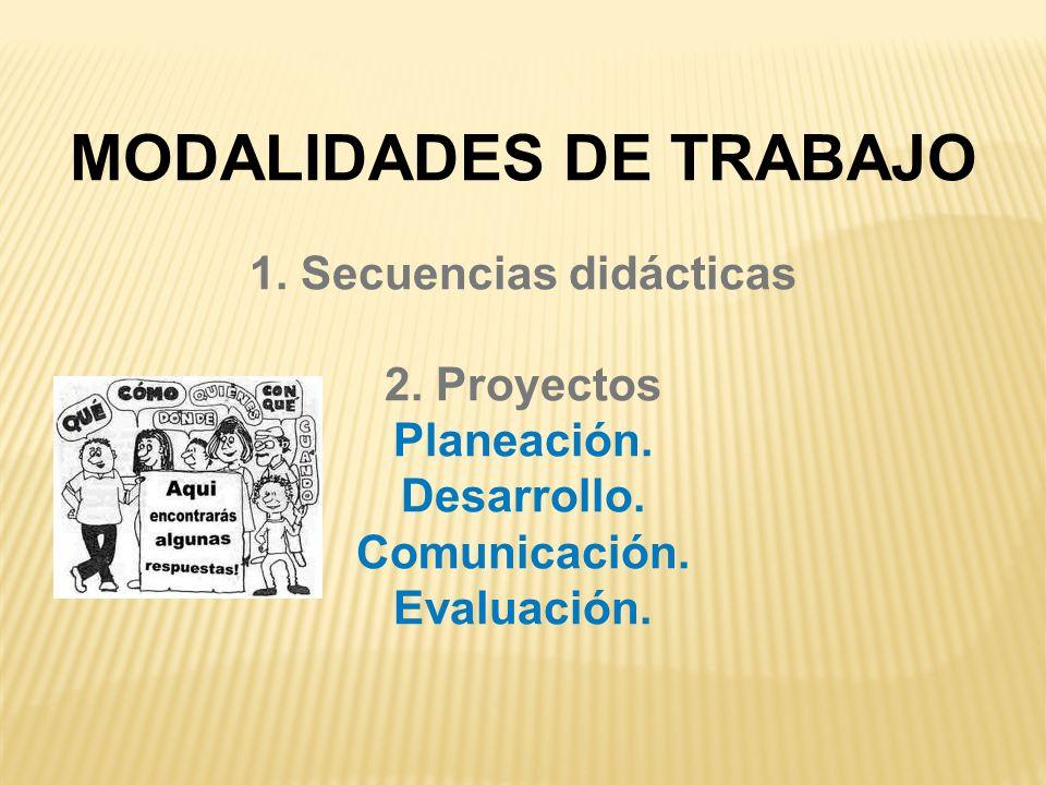 MODALIDADES DE TRABAJO 1. Secuencias didácticas