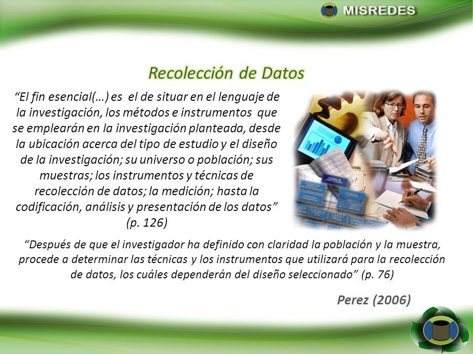 Recolección de Datos Perez (2006)